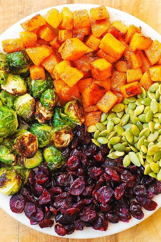 slatko-slana salata povrce jesen zdravi obrok bundeva prokulice